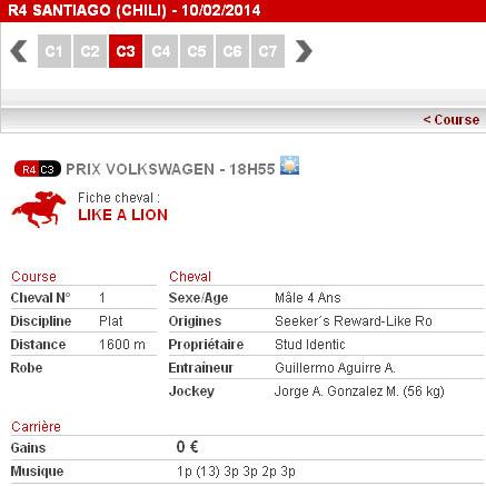 Site de ZETurf.fr : exemple de la musique du cheval Like a Lion avant le Prix Volkswagen